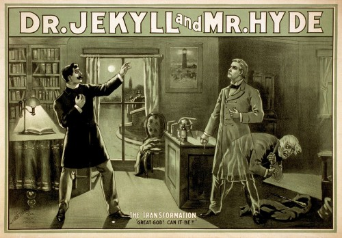 """""""Dr Jekyll and Mr Hyde poster"""" by Chicago: National Prtg. & Engr. Co.Modifications by Papa Lima Whiskey. (1880s)"""