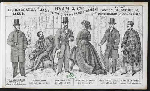 Advertisements such as this, for Hyam & Co (1870s), used images of men that promoted the idea of a respectable Victorian gentleman.