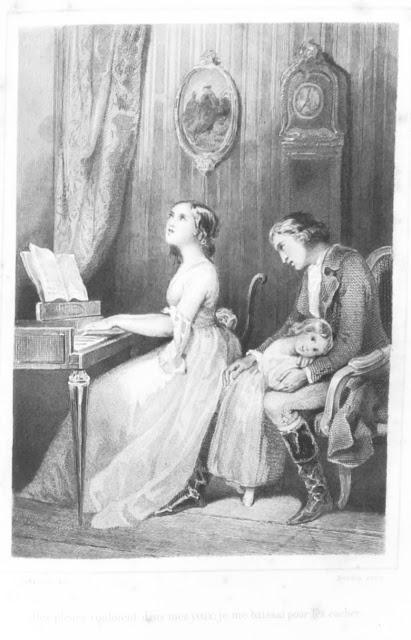 """Werther se languissant d'amour auprès de sa dulcinée Charlotte jouant du clavecin """"avec la douceur d'un ange"""". Vignette de Tony Johannot, Crapelet 1845"""