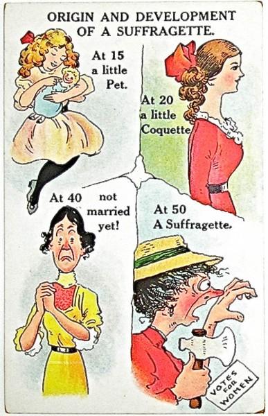 Une des propagandes diffusées dans les journaux entre 1880 et 1900 en Grande Bretagne. Le but était de ridiculiser et diaboliser les femmes se battant pour le droit de vote. Ici le fait d'être célibataire est présenté conne la pire tare, menant à une femme laide et aigrie et le fond du fond : la suffragette.