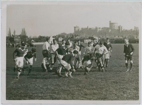 "First Rugby Match Between Eton and Harrow (1860 - 1920). With the rise of natural science and especially biology, the development of muscle was newly emphasized in order to educate one's mind one had to educate one's body.  Thus, a fascination with health led to a sports and game playing obsession, primarily reflected in public schools for boys. The athlete was the new hero of society. Boys were encouraged to play sports and abandon childish or effeminate subjects (such as humanities). Football, cricket, and crew once barely tolerated became organized and compulsory. It was believed those activities bred manliness, virility, and respect for duty, the qualities required to reinvigorate the Anglican Church and manage the British Empire (Nagler). Victorian Muscular Christianity uses sport to develop Christian morality, physical fitness, and ""manly"" character. Underwood & Underwood (Photographer). The Miriam and Ira D. Wallach Division of Art, Prints and Photographs: Photography Collection. From The New York Public Library Digital Collections)"