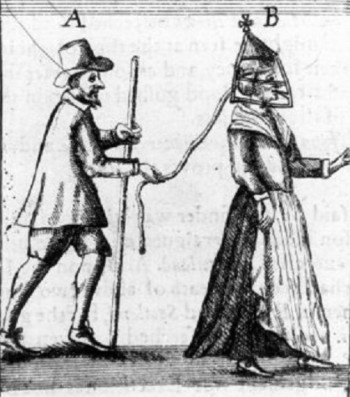 The scold bridle was a symbolic torture device (along with the dunking stool) used to silence women/wives who were too vocal and did not comply with the submissive female model required.
