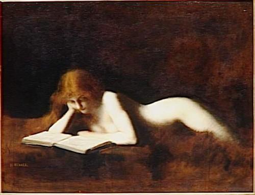 """""""La liseuse"""" par Jean-Jacques Henner. La nudité de la lectrice évoque un coprs-à-corps avec le texte et renvoie à l'association de la lecture avec la sexualité qui était  donc réprouvée par les moralistes."""