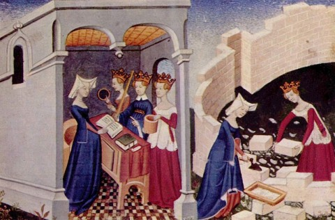 Illustration from The Book of the City of Ladies by the French Christine de Pizan who wrote the first known female utopia in Western Europe (allegorical fortified city for women) and inspired Aemilia Lanyer and Margareth Cavendish.