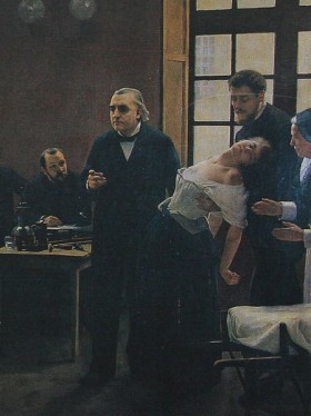 Détail du tableau d'André Brouillet : Une leçon clinique à la Salpêtrière, 1887)