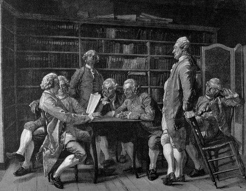 """Siecle des Lumieres : Denis Diderot (1713-1784), ecrivain et philosophe francais recoit chez lui les intellectuels. Gravure de """"L'illustration artistique"""", 1888. ©PrismaArchivo/Leemage"""